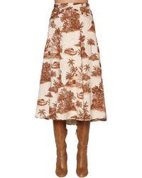 Johanna Ortiz Flared Cotton Blend Jacquard Midi Skirt - Коричневый