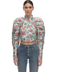 ROTATE BIRGER CHRISTENSEN Crop Top En Brocart Floral À Manches Bouffantes - Multicolore