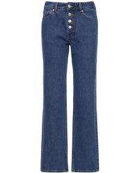 Ganni Cotton Denim Straight Jeans - Blue