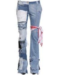 Ronald Van Der Kemp Up Cycled Patchwork Denim Jeans - Blue