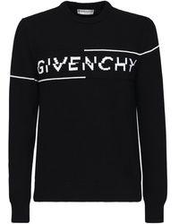 Givenchy Suéter De Algodón Con Logo En Intarsia - Negro