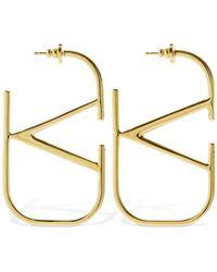 Valentino Garavani Valentino Garavani 7cm V Logo Crystal Earrings - Metallic