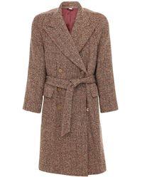 Gucci Двубортное Полушерстяное Пальто - Коричневый