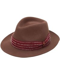 6ff53916c Fur Felt Hat W/ Embroidered Hat Band - Brown