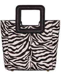 STAUD Mini Shirley Zebra Print Ponyskin Bag - Schwarz