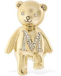 Max Mara Teddy Bear Crystal Brooch - Metallic