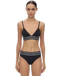 Balmain Bikini Aus Lycra Mit Logo - Schwarz