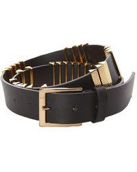Alberta Ferretti 3.5cm Leather Belt W/ Gold Studs - Черный