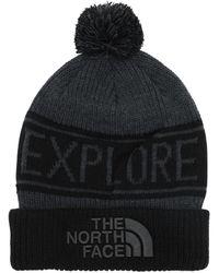 The North Face Retro Tnf Pom Acrylic Blend Beanie - Black