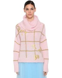 Delpozo Embroidered Mohair Blend Sweater - ピンク