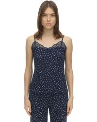 Eberjey Bloom Printed Jersey Camisole Top - Blue