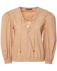 Alberta Ferretti Рубашка Из Хлопкового Поплина - Естественный