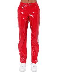 Kirin Vinyl Straight Leg Trousers - Red
