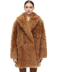 Ferragamo Shearling Wrap Coat - Brown