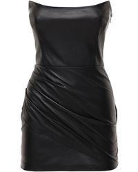 Zeynep Arcay レザーミニドレス - ブラック