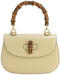 Gucci Bamboo Classic 2 Azalea Top Handle Bag - Natural
