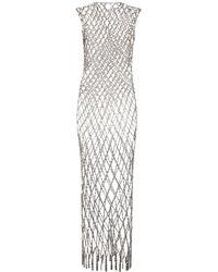 Balenciaga Платье Из Сетки Со Стразами - Металлик
