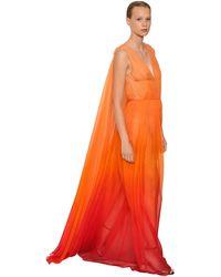 Alberta Ferretti シルクシフォン ロングドレス - オレンジ