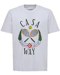 CASABLANCA Casa Way コットンジャージーtシャツ - ホワイト