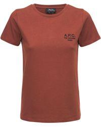 "A.P.C. Camiseta ""denise"" De Jersey De Algodón Con Logo - Naranja"