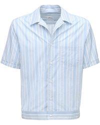 Brioni Хлопковая Рубашка В Полоску - Синий