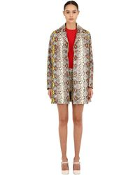 Rochas Snake Printed Leather Coat - Multicolour