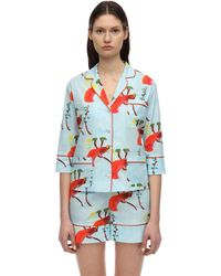 Laura Urbinati Printed Stretch Poplin Pajama Shirt - Multicolor