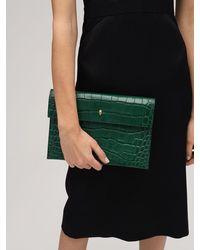 Alexander McQueen Кожаный Клатч С Крокодиловым Тиснением - Зеленый