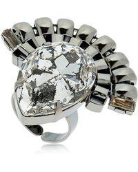 Halo - Chain Ring W/ Swarovski Crystals - Lyst