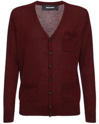 DSquared² Logo Embroidered Wool Knit Cardigan - Multicolour