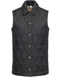 Burberry Quilted Vest W/check Lining - Black