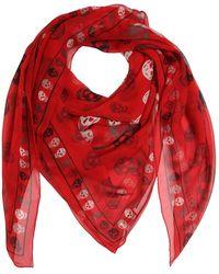 Alexander McQueen Printed Multi Skull Silk Chiffon Scarf - Red