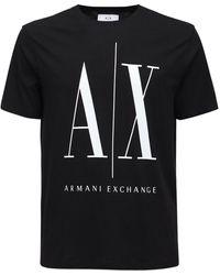 Armani Exchange Icon コットンジャージーtシャツ - ブラック