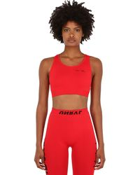 Unravel Project Stretch Techno Jersey Crop Top - Red