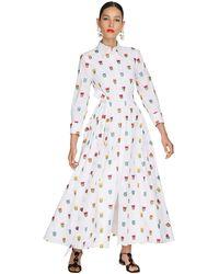 Carolina Herrera Платье Из Поплина С Вышивкой - Белый