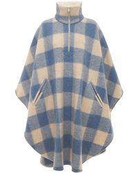Étoile Isabel Marant Gabin Check Felted Wool Blend Cape Coat - Blue