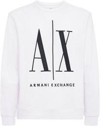 Armani Exchange Sweatshirt Aus Baumwolljersey Mit Logodruck - Weiß