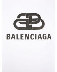 Balenciaga Kapuzensweatshirt Aus Baumwolle Mit Logo - Weiß
