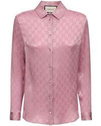 Gucci Gg Jacquard Silk Shirt - Red