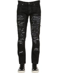 Diesel Black Gold 17cm Slim Fit Ripped Denim Jeans - Black