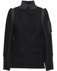 Sacai Wool Twill Double Breast Jacket - Black