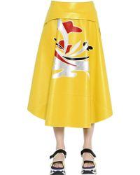 Marni - Nappa Leather Skirt W/ Patchwork Detail - Lyst