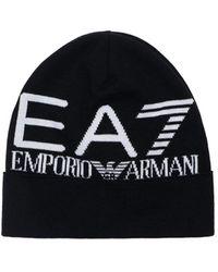 EA7 ジャカードロゴビーニー - ブラック