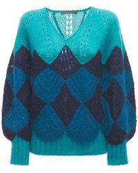 Alberta Ferretti オーバーサイズモヘアブレンドニットセーター - ブルー