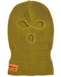 Heron Preston Logo Label Wool Blend Balaklava - Green
