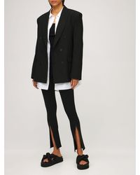 WARDROBE.NYC Front Zip Stretch Jersey Leggings - Black