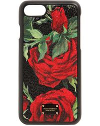 Dolce & Gabbana - Rose Print Leather Iphone 8 Plus Cover - Lyst