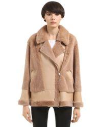 Blancha Merino Shearling & Mink Fur Jacket - Natural