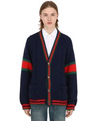 46d4e5d7 Gucci - Wool Knit Cardigan W/ Web Piping - Lyst