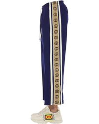 Gucci Pantaloni In Jersey Di Misto Lana - Blu